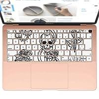 igsticker MacBook Air 13inch 2018 専用 キーボード用スキンシール キートップ ステッカー A1932 Apple マックブック エア ノートパソコン アクセサリー 保護 009668 バラ ドクロ アンティーク