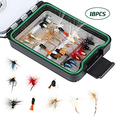 RUNCL Fly Fishing Flies Assortment, 18/36/60pcs Hand-Tied Fly Fishing Lures - Dry Flies, Wet Flies, Nymphs, Emergers, Streamers - Mustad Hooks, Waterproof Fly Box from RUNCL