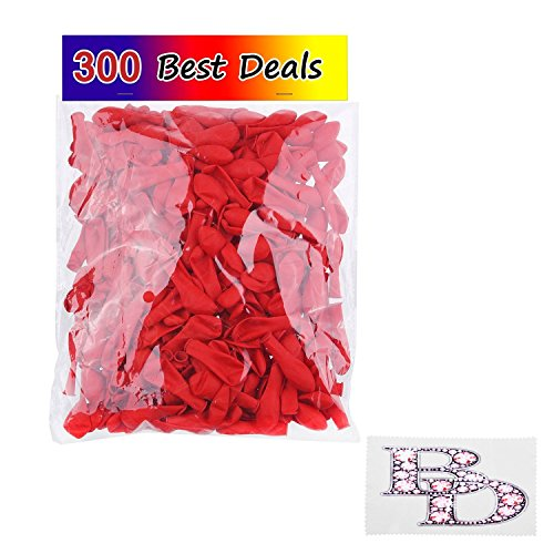 Water Balloons 300 Pack Red - Use as Water Bombs - Great Outdoor Water Sports Fun for Kids and (Grand)Parents - Fill the Balloons with Water and Throw them or use for Decoration - Valentine Decoration - with Best Deals Retail Pack and Cleaning Cloth