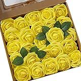 Ksnnrsng Flores Rosas Artificiales Espuma Rosa Falsa para Manualidades, Ramos de Novia, centros de Mesa, Despedidas de Soltera y Decoración del Hogar (25 Piezas, Amarillo)
