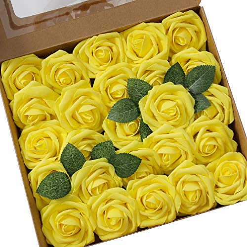 Künstliche Rosen Blumen Schaumrosen Foamrosen Kunstblumen Rosenköpfe Gefälschte Kunstrose Rose DIY Hochzeit Blumensträuße Braut Zuhause Dekoration (25 Stück, Gelb)