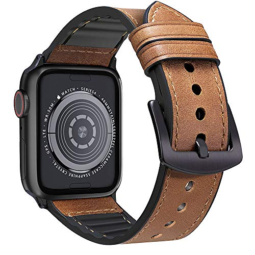 MARGE PLUS Compatible Apple Watch Band 44mm 42mm, Sweatproof Hybrid Genuine Leather and Silicone Sports Watch Band Replacement for iWatch Series 5 4 3 2 1, Brown