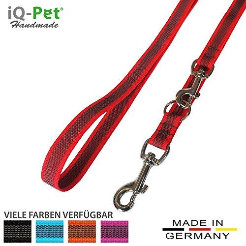 iQ-Pet Hundeleine Made IN Germany | 3-Fach verstellbar (2m - 1,20m) | Nylon, gummiert, in Signal-Farbe | sehr langlebig und robust | Hunde-Leine, Führ-Leine, Trainings-Leine, Doppel-Leine (Rot)