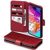 TERRAPIN, Kompatibel mit Samsung Galaxy A70 Hülle, [ECHT Leder] Brieftasche Case Tasche mit Standfunktion Kartenfächer & Bargeld - Rot