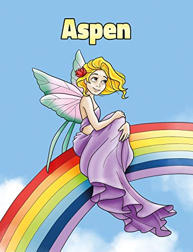 Aspen: Personalized Composition Notebook – Wide Ruled (Lined) Journal. Rainbow Fairy Cartoon Cover. For Grade Students, Elementary, Primary, Middle School, Writing and Journaling