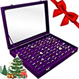 Ring Organizer Display Case ~ Multiple Ring Holder ~ Jewelry Tray Organizer ~ Ring & Earring Holder Storage Box For Shows ~ 100 Slots (Purple)
