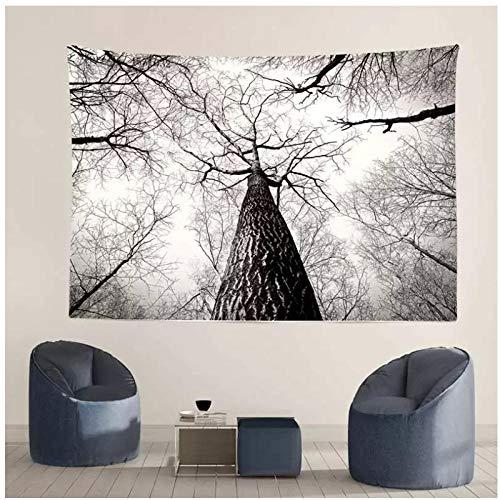 KBIASD Tapiz de árboles Grandes en Blanco y Negro, decoración del hogar, Mantel para Colgar en la Pared, Alfombrilla de Picnic, Almohadilla para Dormir al Aire Libre, Fondo fotográfico 200x150cm