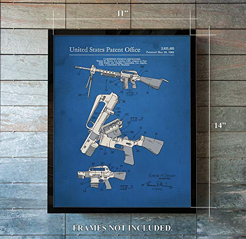 AR 15 - Patent Prints - from 1962 - Unique - 11 x 14 rt Wall Decor - Great Gift for Collectors, Gun Enthusiast