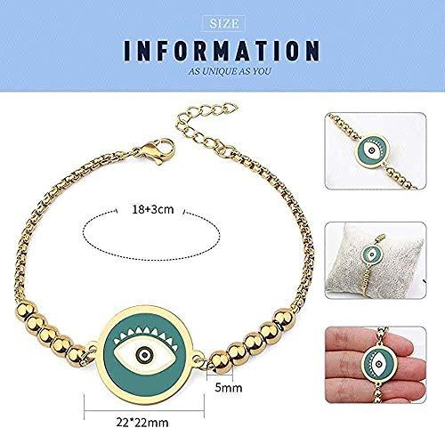 Collar de color dorado con cuentas de 5 Mm, pulsera de ojo turco, pulsera redonda de acero inoxidable para hombres y mujeres, longitud 21Cm