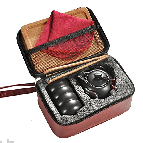 Hoobar Ceramic Kungfu Tea Set Chinese Style Handmade Teapot and Teacups with Portable Travel Bag and Tea Tray (Matte Black)