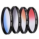 ZOMEI 52mm Graduated Gradient Neutral Density Color Filter Kit - Grey Blue Orange Red Filter Set