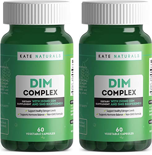 DIM Complex Supplement with Broccoli & Black Pepper Extracts by Kate Naturals. Supports Healthy Estrogen Levels & Menopause Relief. Non-GMO Formula. 60 Vegetable Capsules (2 BOTTLES)