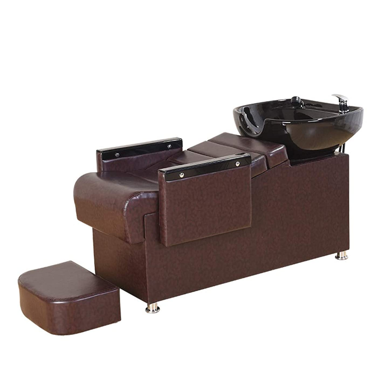 滑り台陰謀バリアシャンプー椅子、逆洗ユニットシャンプーボウル理髪店フラッシングベッド美容院シンク椅子用スパ美容院機器