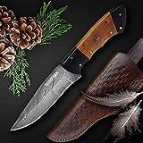 Jagdmesser handgefertigt aus hochwertigem Carbon Stahl - Outdoor Campingmesser - Gürtelmesser mit...