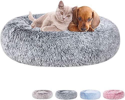 BEAUTYMISC Cama para Perros de Piel sintética calmante para Abrazos, Almohada de Cama Redonda Lavable para Gatos, Color Degradado para Perros pequeños y medianos-Grey||M 23'