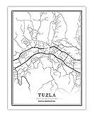 Poster Bosnien-Herzegowina Schwarz Weiß Stadtplan Poster