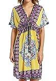 Avacoo Damen Strandponcho V Ausschnitt Blumen Sarong Midi Kleid Pareos Marokko Gelb