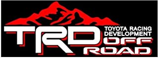 Noa Store Compatible with Toyota TRD Truck Mountain Off-Road 4x4 Racing Tacoma Decal Vinyl Sticker PAIR of 2 (White/RED)
