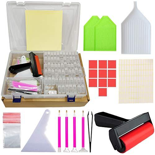 SHUIBIAN 169tlg Diamond Painting Zubehör, 5D DIY Diamant Painting Bilder Werkzeug Set, Stift, Sortierbox, Kleber, Aufbewahrungsbox