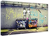 Banksy Life is Short Graffiti Street Art - Lienzo listo en bastidor, impresión artística, decoración de pared XXL (50 x 70 cm)
