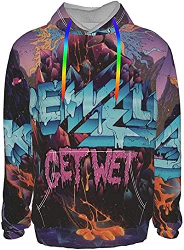 Krewella Get Wet3Dプリントフード付きメンズパーカースウェットシャツとファッションパーカーセーターミディアムブラックスポーツユニセックス服-Black-3X-Large