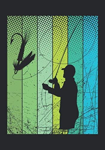 Notizbuch A5 liniert mit Softcover Design: Fliegenfischer Retro Fliegen Angler Angel Geschenk Forellen: 120 linierte DIN A5 Seiten