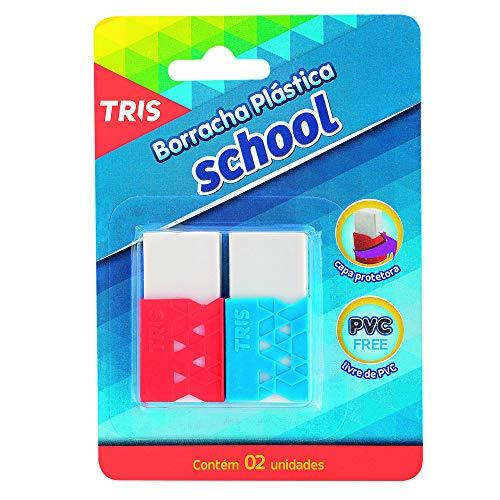 Borracha Branca Plástica com Capa Protetora, Tris, School, 2 Unidades, Cores Sortidas