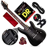 Schecter OMEN-6 6-String Electric Guitar (Black) with Clip-On Tuner and Accessory Bundle