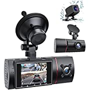 LAMONKE 3 Channel Dash Cam Front Rear and Inside 1080P Three Way Dash Camera for Cars, 2 Inch IPS Screen, IR Night Vision, Loop Recording, 24 H Parking Monitor for Taxi Driver