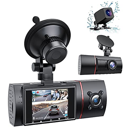 LIDOFIGO 3 Channel Dash Cam Front Rear and Inside ,1080P Car Camera with IR Night Vision Dash Cam for Cars Loop Recording and G-Sensor, Dash Cam Dual Mode Selection