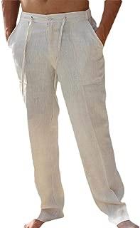 Men's Casual Long Pants Straight-Legs Cotton Linen Loose Fit Beach Pants