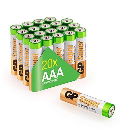 GP Batterien AAA Micro, Super Alkaline Technologie 1,5V, Vorratspack mit 20 Stück Microzellen in briefkasten-tauglicher Verpackung