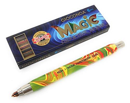 KOH-I-NOOR Caso Lápiz/portaminas de metal con sacapuntas Mina de 5.6mm–Magic (Multicolor)–Arco iris de lápiz–Varias opciones, color carbón 1 Magicstift mit 6 Multicolorminen