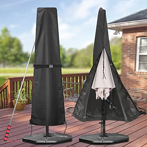 GARDRIT Patio Umbrella Cover, Waterproof 600D Oxford Fabric Umbrella Covers with Smooth Long Zipper and Telescopic Rod, Fits Outdoor Market Umbrellas 7ft to 11ft, Black