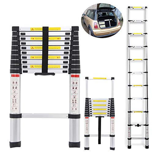 10.5FT Telescopic Ladders Aluminum Extendable Steps 330LB Capacity Straight Ladder for Decoration Outdoor Indoor Portable Compact Lightweight Easy Storage in Car Transport