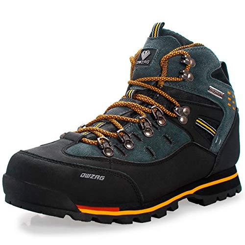 Eisrumu Wanderschuhe Herren Wasserdicht Trekking Wanderstiefel rutschfest High-Top Trekkingschuhe Männer Damen Stiefel für Wandern Outdoor Sport Grün Gelb EU44