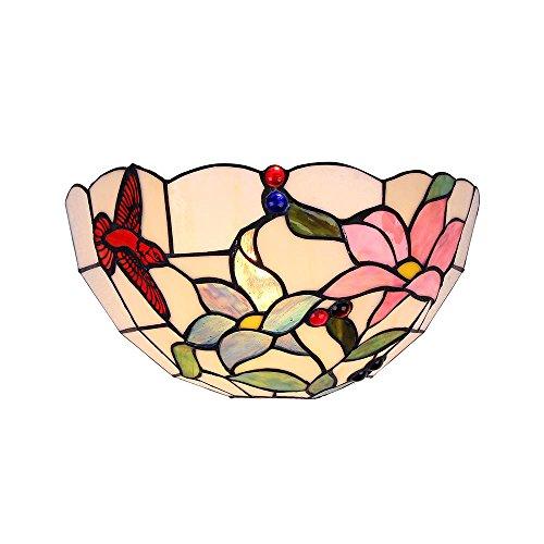 Interfan wandlamp, Tiffany-bloemen, E14, meerkleurig