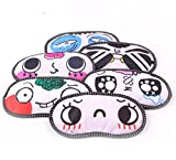 FinalZ 6pcs Cute Cartoon Funny Novelty Face Sleeping Eye Mask (Random)