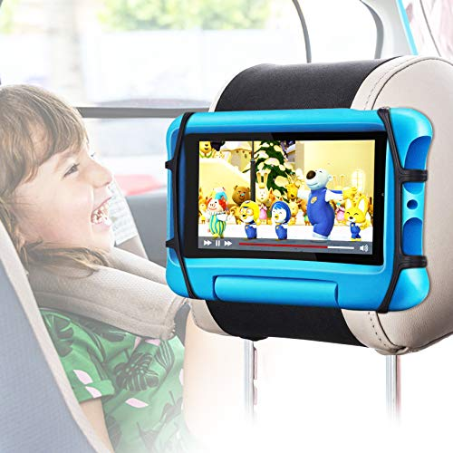 Car Headrest Mount Holder, FANGOR Universal Tablet Holder for Kids in Back Seats, Anti-Slip Strap and Holding Net,Angle-Adjustable/Fits All 7 Inch to 10.5 Inch Tablets