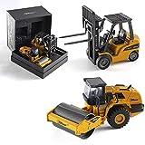 Top Race Toy diecast Modelos grúa Camiones Excavadora volquete Excavadora Carretilla elevadora Modelo Road Roller Juguetes en Hermosa Caja de Regalo para de 3 años en adelante (162d Conjunto de 2)