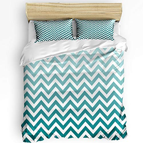 Queen Area 3 Pcs Twin Duvet Cover Set - Zig Zag Chevron Style Geometric Pattern Design Gradation Soft Breathable Bedding Set with Zipper Closure and 2 Pillow Shams (Not Including Comforter)