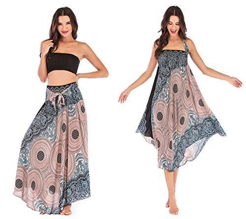 Damen Halter Kleid Blumen Boho Strandkleider Lang Gedruckter Rock Elastisch Taille Maxirock (Einheitsgröße, Beige)