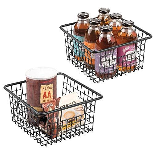 mDesign Cesta organizadora con asas – Práctico cesto de cocina de metal resistente a la...