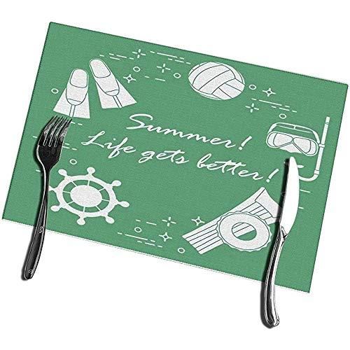 Beryl Shop Manteles Individuales Volante Máscara Snorkel Aletas Voleibol Colchón Inflable Círculo Deportes de Verano y Mantel Lavable