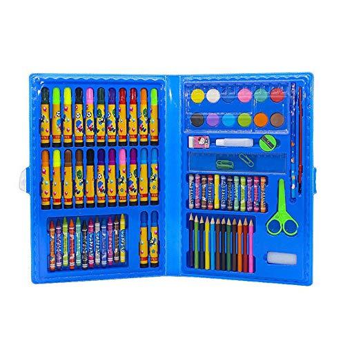 ZXIAQI 86 pcs Malset Zeichenset Buntstifte Set für Kinderinkl Wachsmalstifte, Aquarellstifte, Farbstifte, Radierer Geburtstag Geschenk,Blau