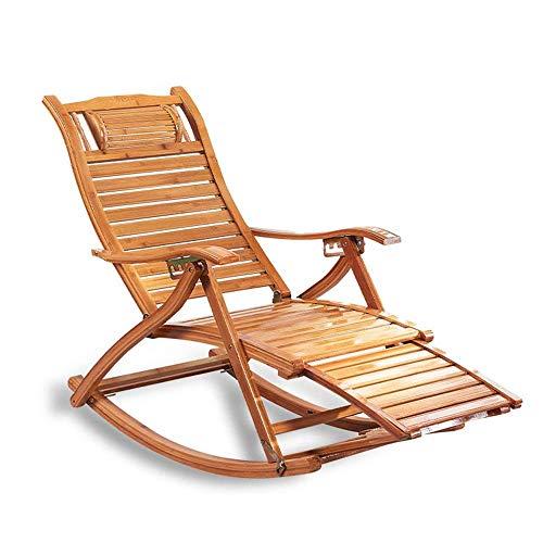 WFFF Mecedora Plegable con reposabrazos y Respaldo Silla reclinable Relajante de bambú Ajustable para Sala de Estar, Patio y terraza