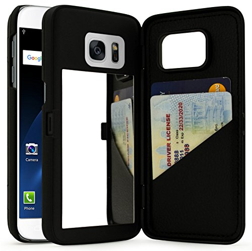Bastex Galaxy S7 Case, Black Hidden Back Mirror Wallet Case with Stand Feature and Card Holder...
