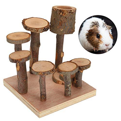 Faceuer Escalera de hámster, Juguete de Paso para Mascotas Bien Fabricado de Madera de Manzano Natural ecológico, Regalo para el hogar de Ardilla de(Small, Apple Wood Column)