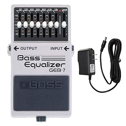 BOSS GEB-7 Bass Equalizer Pedal with PigHog PP9V Pig Power 9V DC 1000ma Power Supply