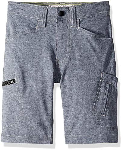 Lee Boys' Big Dungarees Grafton Cargo Short, Dark Denim Heather, 16 Husky